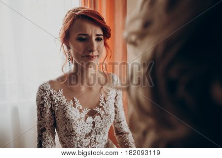 Stylish Happy Bride Crying Looking At Mother Or Grandmother, Family Values. Emotional Moment.  Weddi