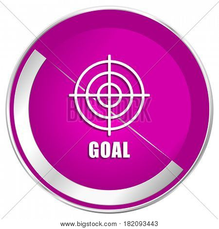Goal web design violet silver metallic border internet icon.