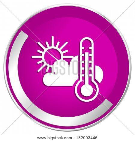 Weather forecast web design violet silver metallic border internet icon.