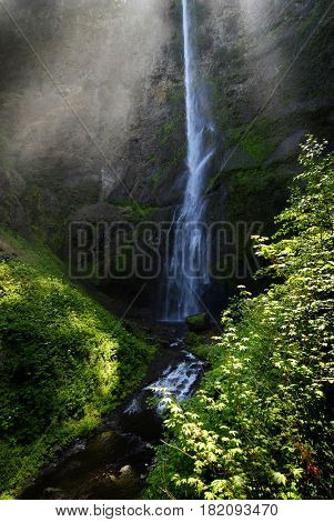 Multnomah waterfall in Oregon Northwest