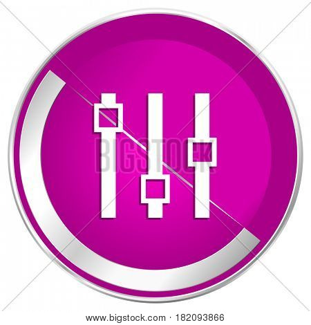 Slider web design violet silver metallic border internet icon.