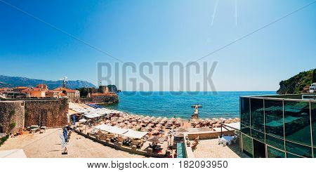 Old Town Budva in Montenegro in the summer.