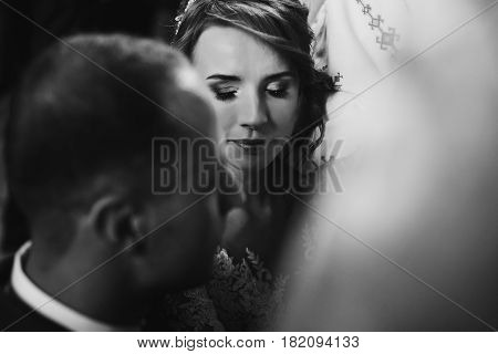 Happy Bride And Stylish Groom Making Vows During Wedding Ceremony. Bride Crying, Tears. Wedding Coup