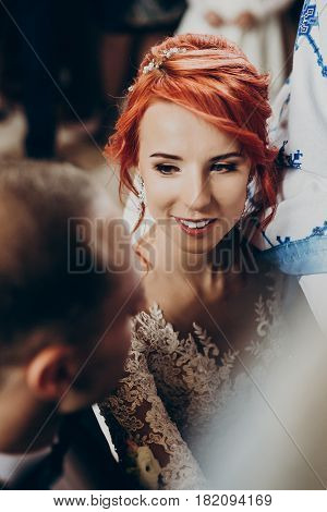 Happy Bride And Stylish Groom Making Vows During Wedding Ceremony. Bride Crying,  Wedding Couple At