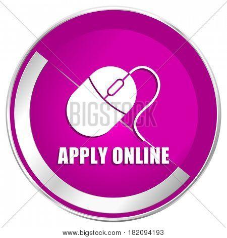 Apply online web design violet silver metallic border internet icon.