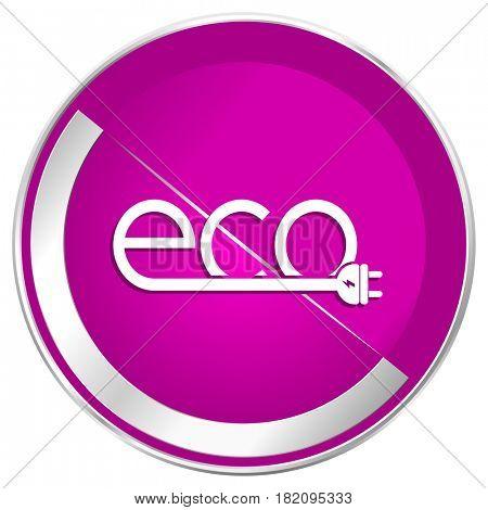 Eco electric plug web design violet silver metallic border internet icon.