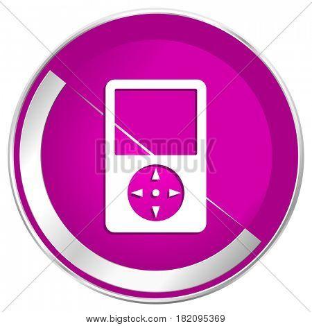 Multimedia player web design violet silver metallic border internet icon.