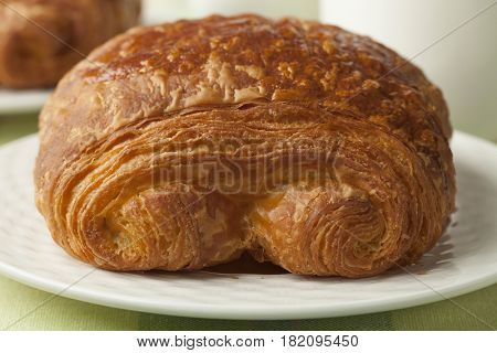 Fresh French chocolate croissant close up