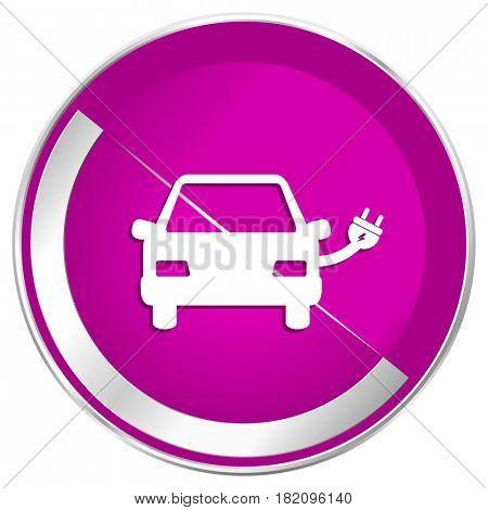Electric car web design violet silver metallic border internet icon.