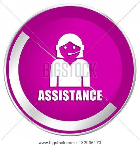 Assistance web design violet silver metallic border internet icon.