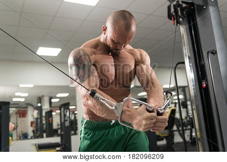 Athlete Is Working Chest Workout Cable Crossover