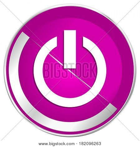 Power web design violet silver metallic border internet icon.
