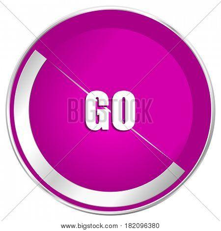 Go web design violet silver metallic border internet icon.
