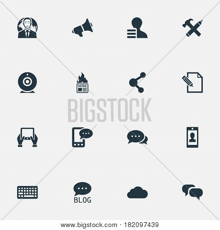 Vector Illustration Set Of Simple Blogging Icons. Elements Share, Broadcast, Gossip And Other Synonyms Message, Pencil And Overcast.