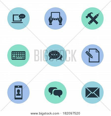 Vector Illustration Set Of Simple Blogging Icons. Elements Document, Notepad, Argument And Other Synonyms Conversation, Gossip And Message.