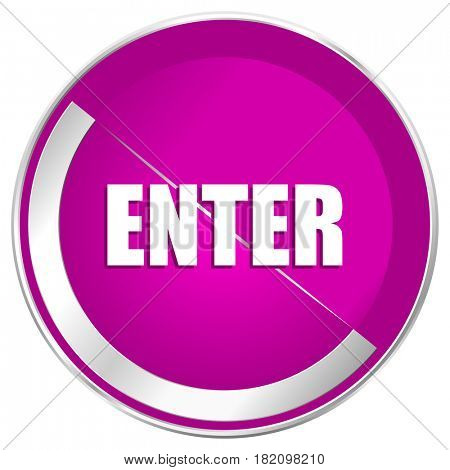 Enter web design violet silver metallic border internet icon.
