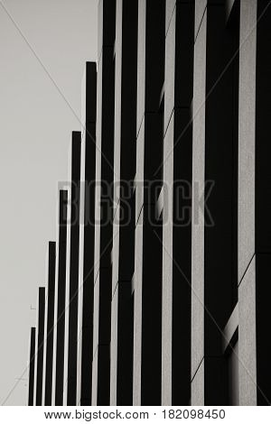 Ultra - modern minimalist high-rise building close-up
