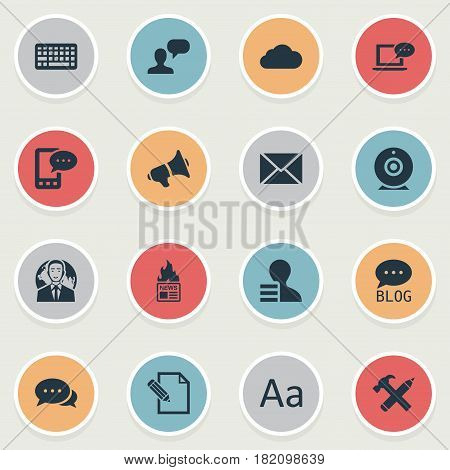 Vector Illustration Set Of Simple User Icons. Elements Gazette, Laptop, Keypad And Other Synonyms Hammer, Alphabet And Hot.