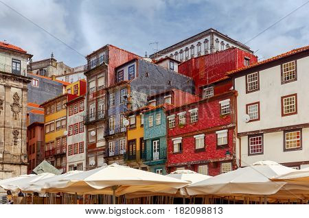 Old medieval street in the Ribeira area. Porto. Portugal.