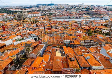 Aerial view of the city from the observation deck. Porto. Portugal.