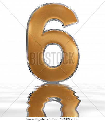Numeral 6, Six, Reflected On The Water Surface, Isolated On  White, 3D Render