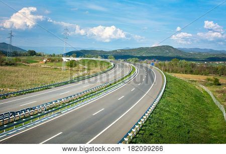 Empty new highway track in south Serbia