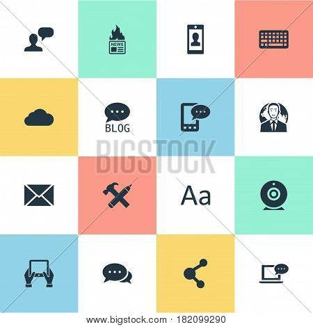 Vector Illustration Set Of Simple Blogging Icons. Elements Gazette, Man Considering, Notepad And Other Synonyms E-Letter, Debate And Relation.