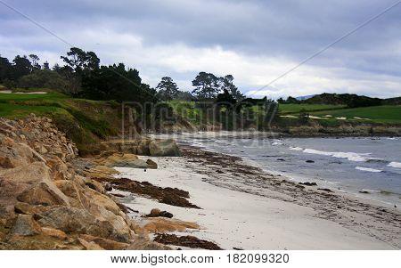 Carmel Beach below famous Pebble Beach Golf Course