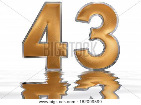 Numeral 43, Forty Three, Reflected On The Water Surface, Isolated On  White, 3D Render