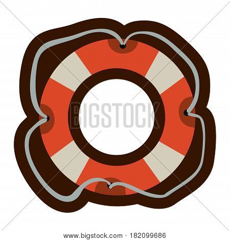 colorful flotation hoop with tether and thick contour vector illustration