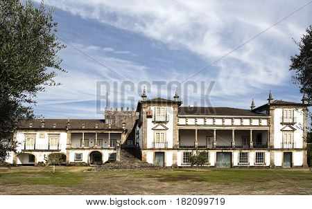 BERTIANDOS, PORTUGAL - OCTOBER 7, 2016: The Solar de Bertiandos is an seventeenth and eighteenth century Portuguese baroque manor located near Ponte de Lima Northern Portugal