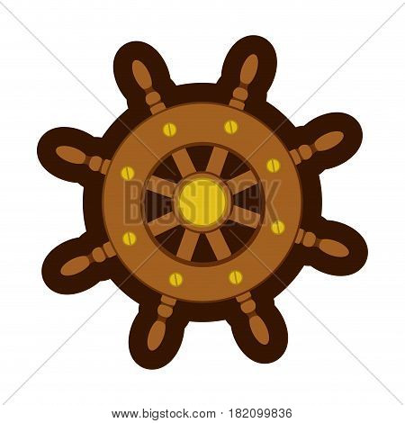 colorful silhouette of boat helm with thick contour vector illustration
