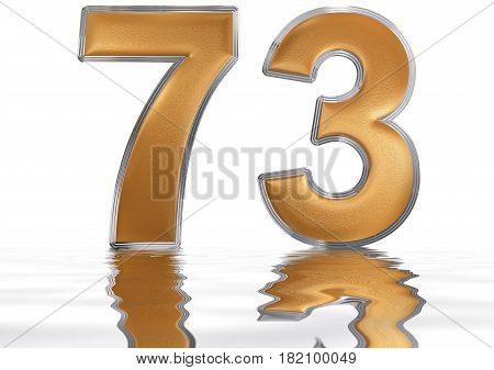 Numeral 73, Seventy Three, Reflected On The Water Surface, Isolated On  White, 3D Render
