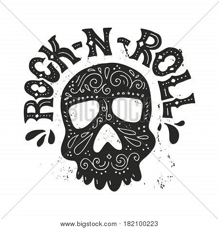 Handdrawn lettering with skull and rock-n-roll sign. T-shirt design. Rock concert poster. Typographical poster made in vector.