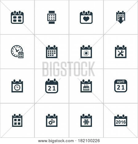 Vector Illustration Set Of Simple Calendar Icons. Elements History, Intelligent Hour, 2016 Calendar And Other Synonyms Watch, Reminder And Almanac.
