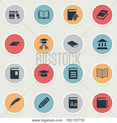 Vector Illustration Set Of Simple Knowledge Icons. Elements Alphabet, Book Page, Library And Other Synonyms School, Dictionary And Quill.