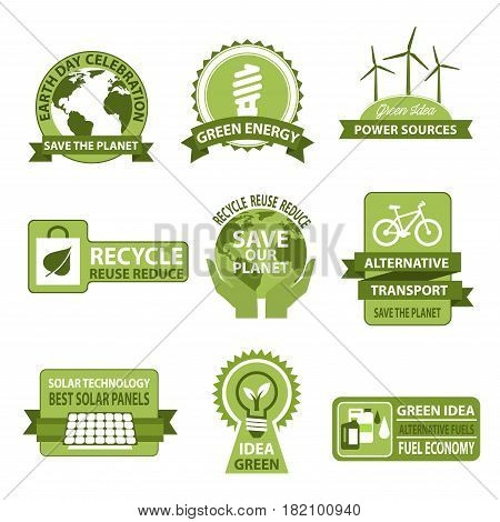 Earth Day vector icons for Save Planet design. Symbols of green environment, alternative energy sources of solar panels and windmills for light bulbs, eco transport and hands for ecology conservation