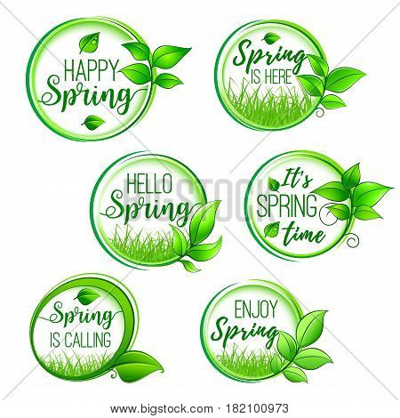 Hello Spring vector icons set for springtime holidays. Isolated round template design of green springtime tree or flower plant sprouts and leaf tendril on grass for greeting design elements