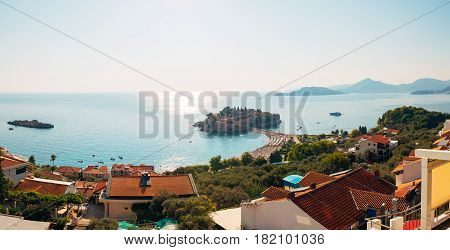 Island of Sveti Stefan in Montenegro. Panoramic shot