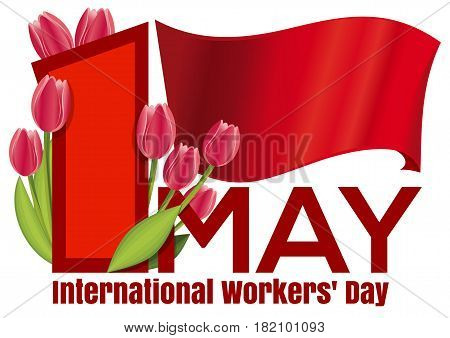 International Workers Day card with the red flag and a bouquet of tulips. 1 May. Labor Day background. May Day design. Vector illustration