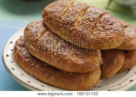 Traditional dish with fresh Moroccan homemade krachel for ramadan