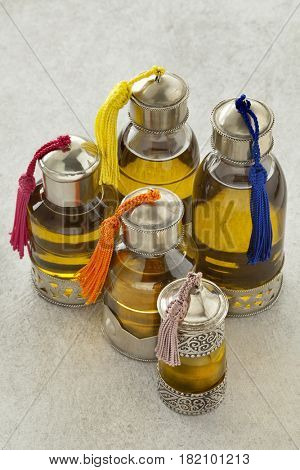 Moroccan bottles with organic cosmetic oil in the hammam