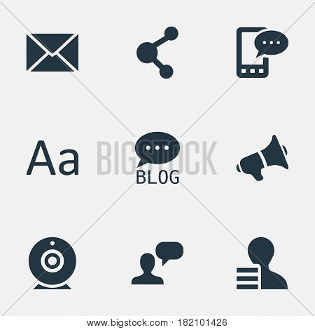 Vector Illustration Set Of Simple Blogging Icons. Elements Share, Man Considering, Gain And Other Synonyms Site, Man And Considering.