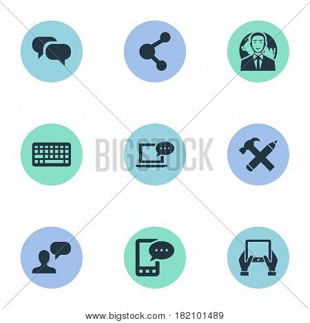 Vector Illustration Set Of Simple Blogging Icons. Elements Repair, Gossip, Laptop And Other Synonyms Conversation, Share And Gossip.