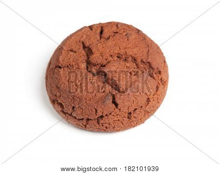 Single brown cookie isolated on white