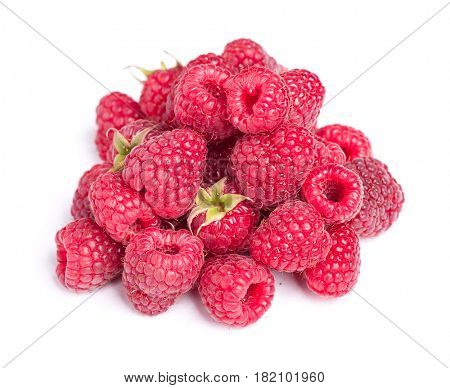 Heap of raspberries isolated on white background