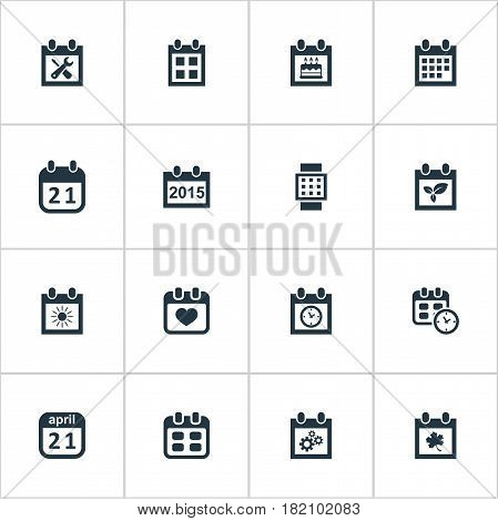 Vector Illustration Set Of Simple Date Icons. Elements Almanac, Renovation Tools, Leaf And Other Synonyms Reminder, Remembrance And Annual.
