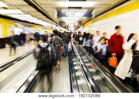 People In An Underground Station With Zoom Effect