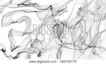 3D rendered transparent veil black on white background