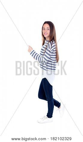 Active teenager girl walking with striped t-shirt isolated on a white background